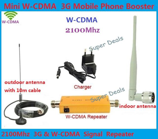 Até 500 Metro Quadrado WCDMA 2100 MHz 3G RF Repetidor Celular Signal Booster Amplificador Repetidor + Ao Ar Livre Cabo de antena With10M