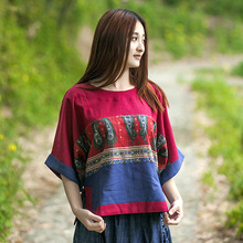 Women New cotton and linen Summer style national print T-shirt Plus size 2016 folk Loose Batwing Half Sleeve O-neck Chinese Tops