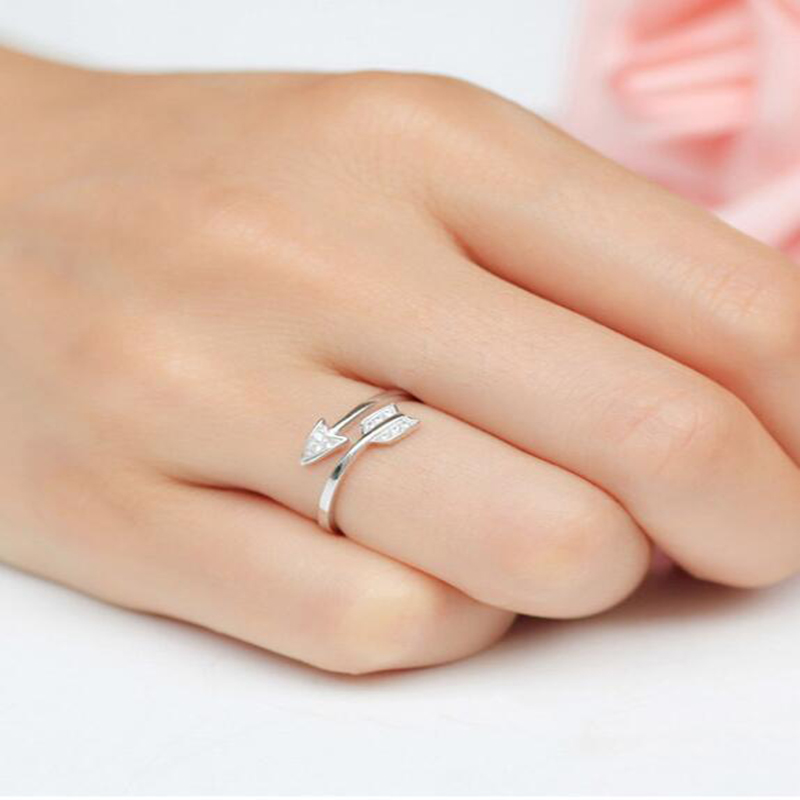 Qevila 2019 New Arrival Fashion Silver Plated Arrow Crystal Rings for Women Adjustable Engagement Ring Arrow Women Wedding Rings (5)
