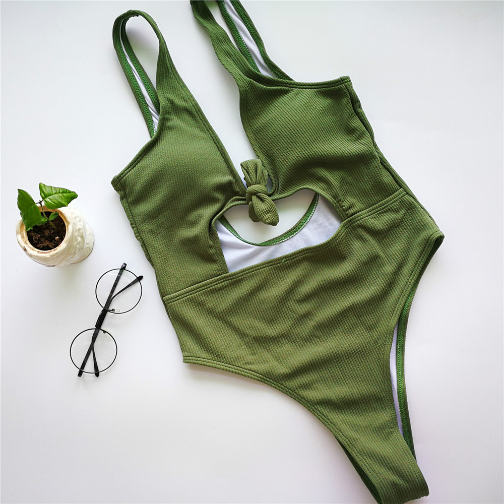 High Leg Cut Out Swimwear Bowknot Textured One Piece Swimsuit Sexy Bodysuits 2017 Brazilian Bathing Suits Monokini Swimming Wear