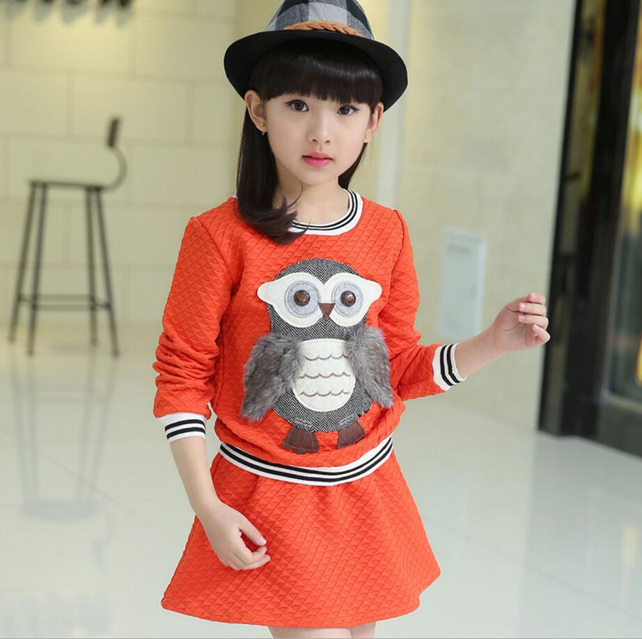 fashion korean New Spring and autumn winter Clothing Sets Baby Girls owl hoodies +skirt Two Pieces girls Suits 2-12years HB2045 potato spiral cutter stainless steel electric fruit vegetable spiralizer professional kitchen tools potato cutting machine