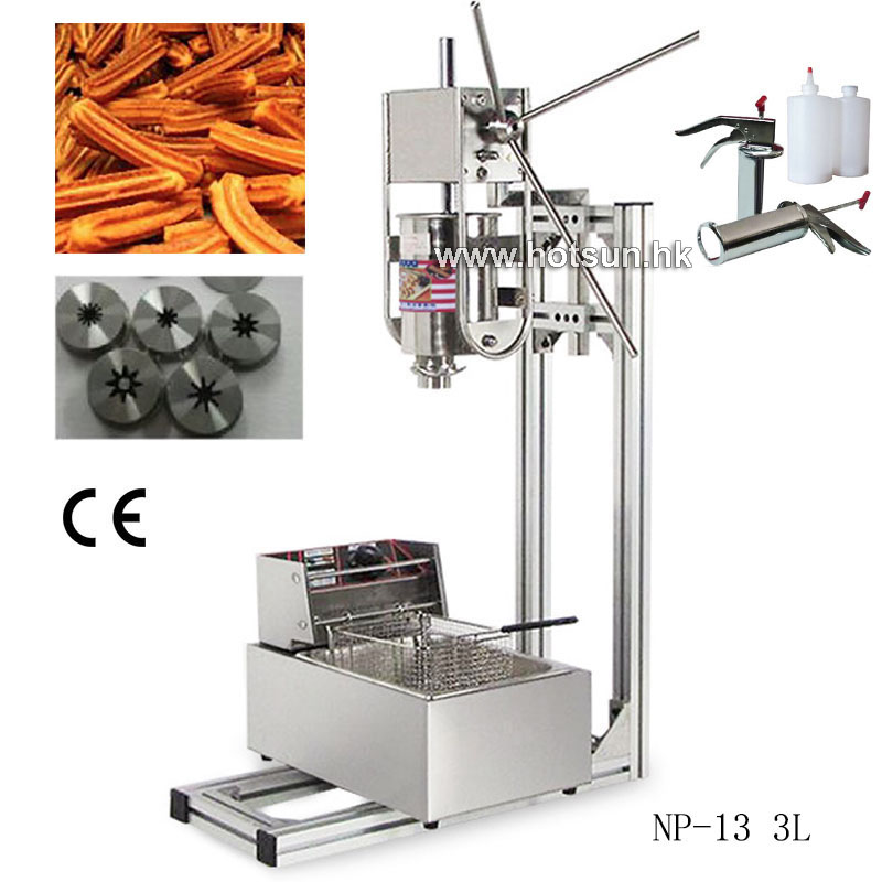 Free Shipping 3L Vertical Manual Spanish Donut Churros Machine Maker W Deep Fryer 700ml Filler free shipping commercial heavy duty 5l manual spanish donuts churreras churros maker machine w 12l fryer n 700ml filler