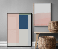 Nordic Style Coral Pink and Blue Geometric Art Canvas 100% hand painted Abstract oil Painting Wall Modern Home Decoration