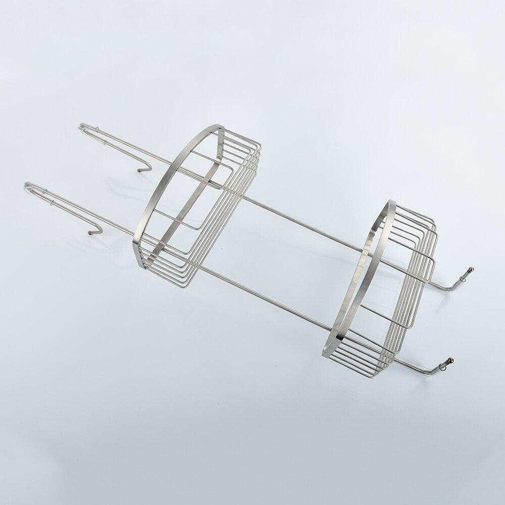Бесплатная доставка SUS304 нержавеющая сталь многофункциональный двойной вешалка корзина для хранения полка с крюком
