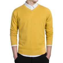 Sweater autumn and winter mens solid color sweater fashion simple cotton knit V-neck pullover