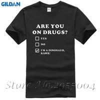Summer New ARE YOU ON DRUGS FUNNY DINOSAUR NOVELTY PRINT CLUB RAVE EDM T Shirts Short