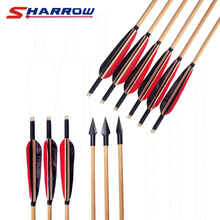 5 Pcs Wooden Arrows Archery Tureky Feather With Traditional Broadshead Use For Recurve Hunting Arrow