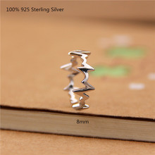 100% 925 Sterling Silver Fashion Rings Women Heart Waves Oppen Ring for Jewelry