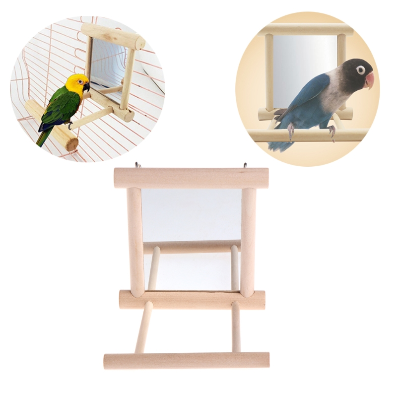 Pet Bird Mirror Wooden Play Toy With Perch Stands For Parrot Budgies Parakeet Cockatiel Conure Finch Lovebird