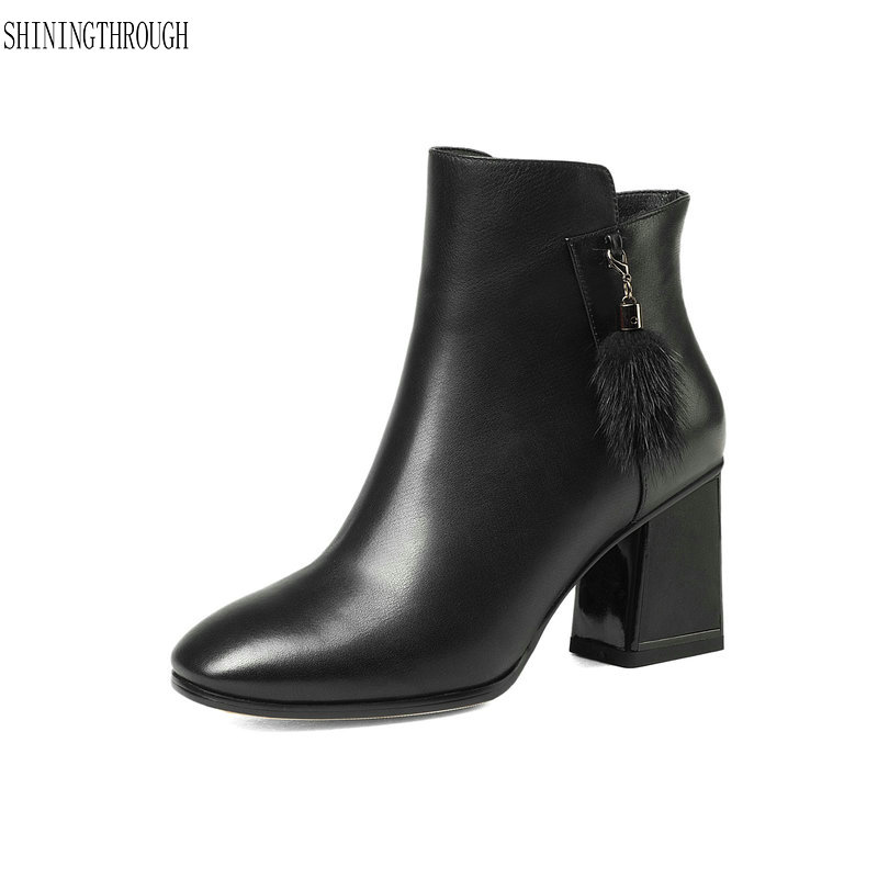Sexy Women Ankle Boots genuine leather High Heels Autumn Winter Shoes Woman Ladies 2019 New Basic Boots size 34-43Sexy Women Ankle Boots genuine leather High Heels Autumn Winter Shoes Woman Ladies 2019 New Basic Boots size 34-43