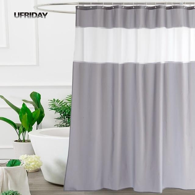 UFRIDAY Modern Mosaic Fabric Shower Curtain For Bathroom Translucent White Gauze Dainty Home Decoration Mocha Bath New