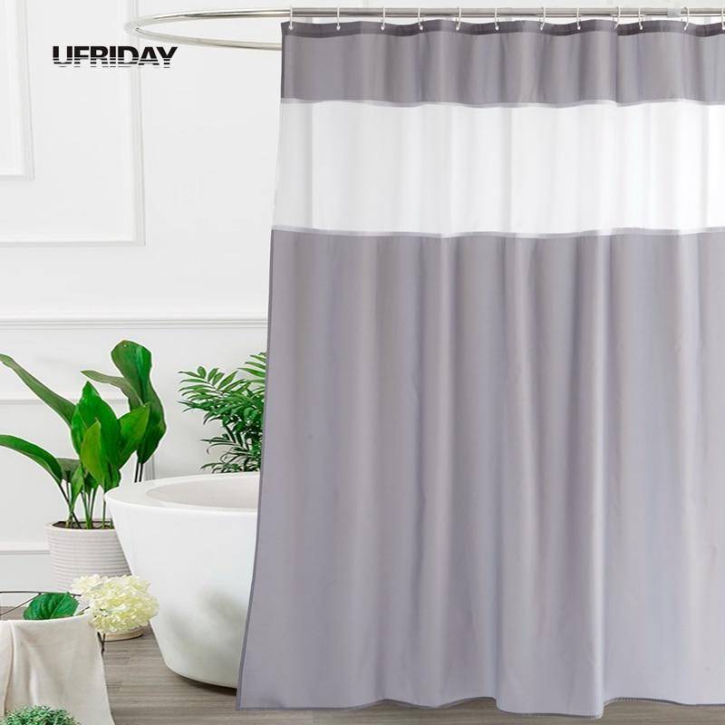 UFRIDAY Modern Mosaic Fabric Shower Curtain for Bathroom Translucent White Gauze Dainty Home Decoration Mocha Bath Curtain New