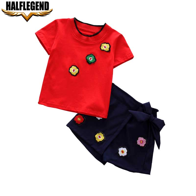 Little Girl Clothes Children Clothing Sets Toddler Girls Summer 2018 Flower Short Sleeve tshirts Pants Sports Kids Baby Clothes girls tops cute pants outfit clothes newborn kids baby girl clothing sets summer off shoulder striped short sleeve 1 6t