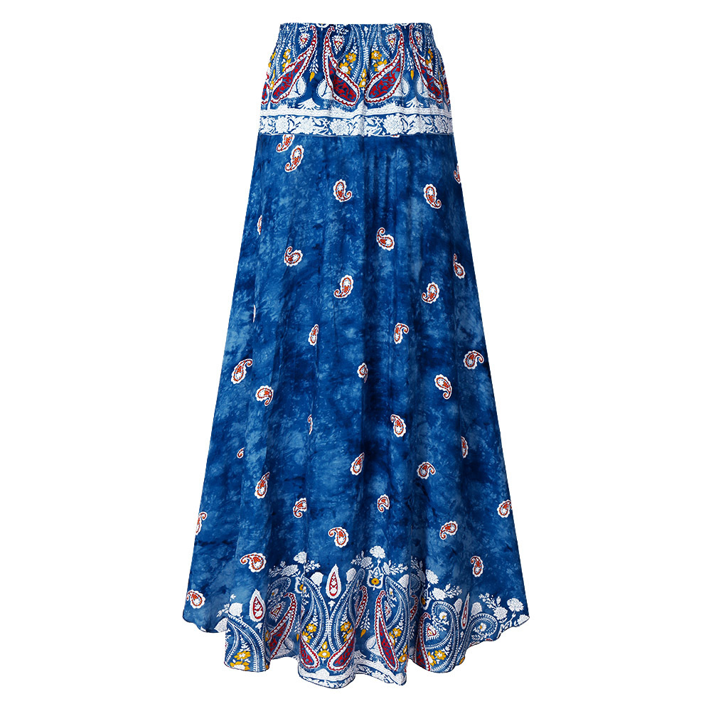 2018 Summer Women Casual High Waist Boho Long Maxi Skirt Vocation Floral Skirt