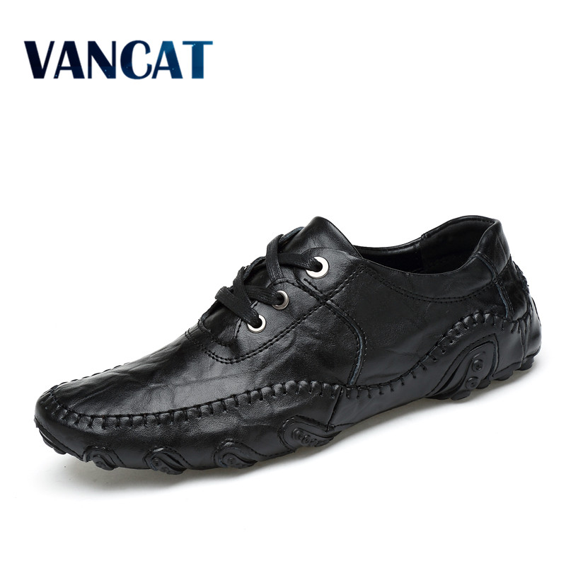 Handmade Genuine Leather Men's Flats Casual Luxury Brand Men Loafers Comfortable Soft Driving Shoes Slip On Leather Moccasins