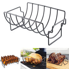NEW Rib Rack Stand Non Stick Outdoor Grilling BBQ Chicken Beef Ribs Steel(China)