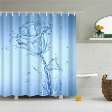 3D Flower Shower Curtains for Bathroom Waterproof Polyester Bath Curtain with hooks 150*180/180*180/180*200cm Screen