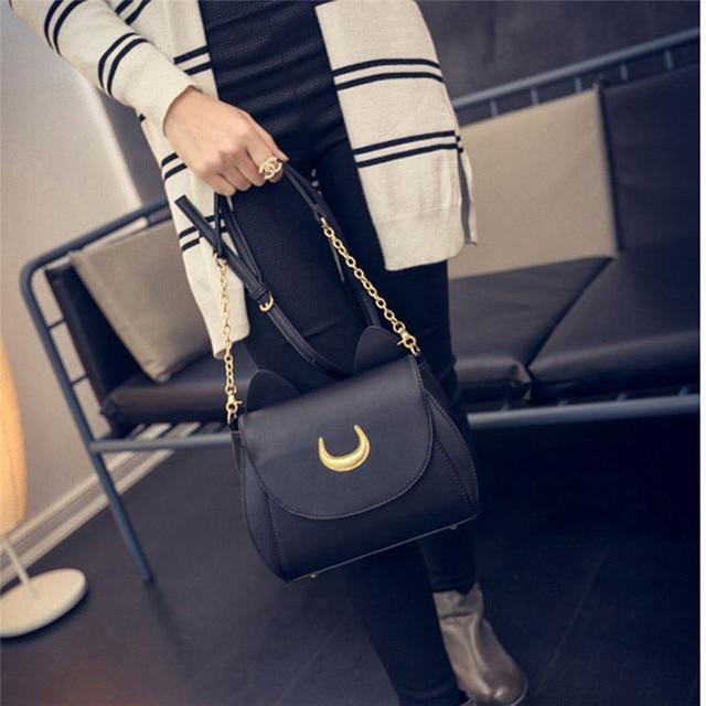 10fec48172f8 Summer Sailor Moon Ladies Handbag Black White Luna Cat Shape Chain Shoulder  Bag PU Leather Women Messenger Crossbody Small Bag