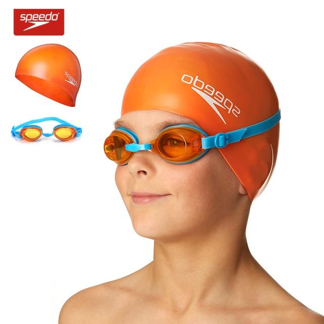 ce4b6569602e US $25.76 |Speedo Children Antifog Goggles +Swimming Cap Set Waterproof  Boy's and Girl's Swimming Equipment 6 14 Years Old-in Swimming Eyewear from  ...