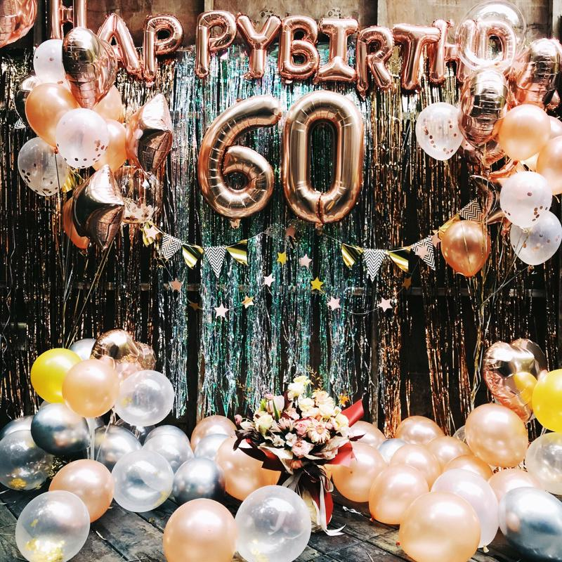 Rose Gold Wedding Birthday Party Balloons Happy Birthday Letter Foil Balloon Baby Shower Anniversary Event Party Decor Supplies 5