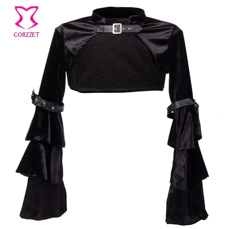 პლუს ზომა შავი ფლანელის პეპელა ყდის ქამარი Buckle Steampunk Jacket Bolero გოთური ტანსაცმელი ქალთა კორსეტი Burlesque აქსესუარები