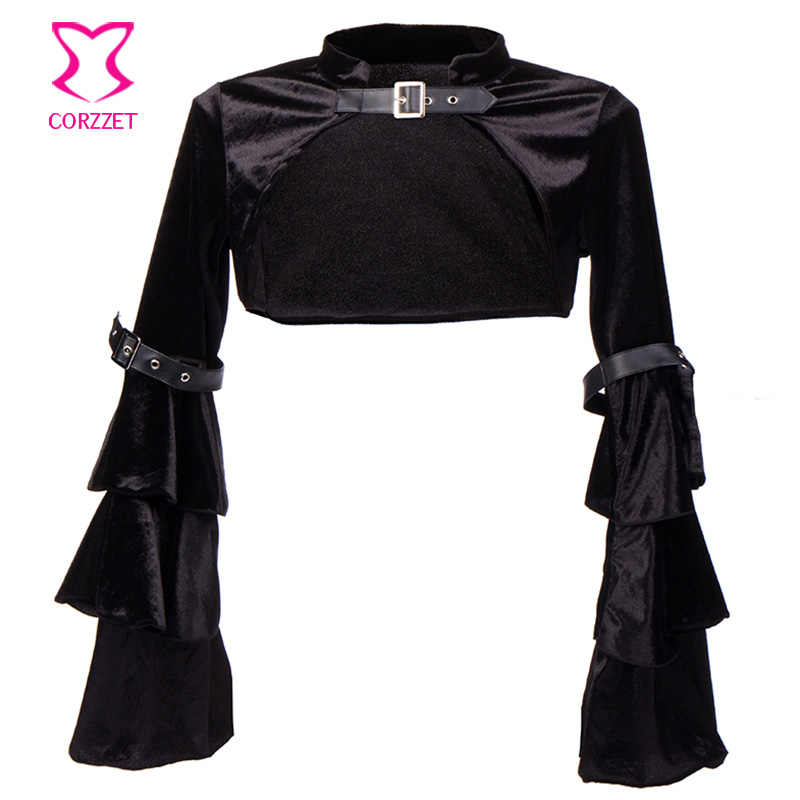 2ce5a3195e4 Plus Size Black Flannel Butterfly Sleeve Belt Buckle Steampunk Jacket  Bolero Gothic Clothing Women Corset Burlesque