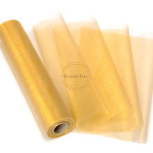 25M x 29CM Gold Sheer Organza Roll Fabric DIY Wedding Party Chair Sash Bows Table Runner Swag Decor Hot Sale(China)