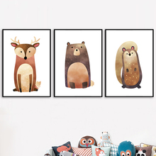 Bear Deer Owl Fox Wall Art Canvas Painting Nordic Posters And Prints Cartoon Animals Wall Pictures For Kids Room Baby Room Decor цена и фото