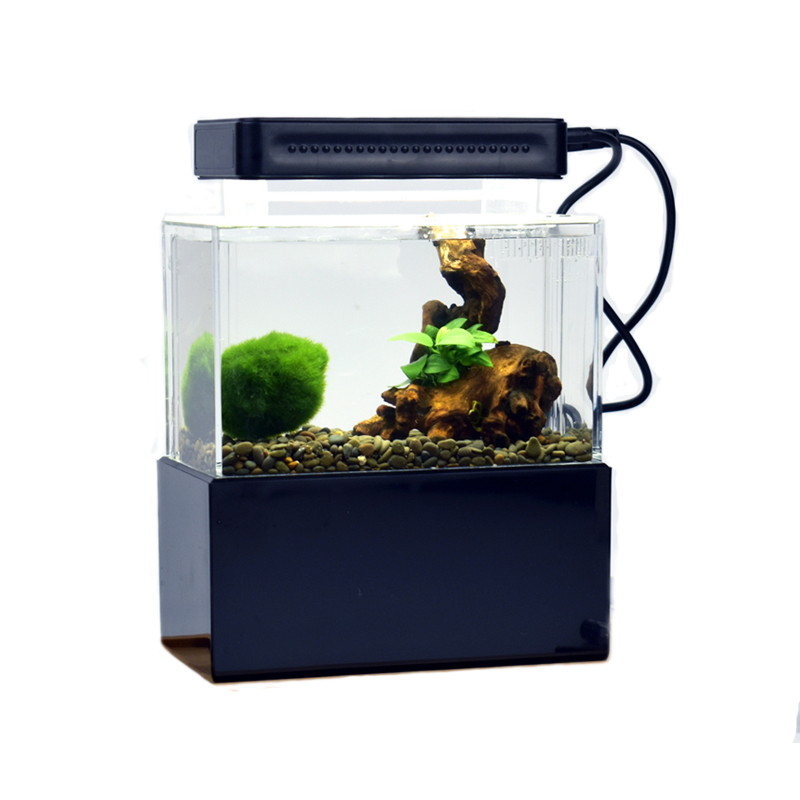 Mini Plastic Fish Tank Portable Desktop Aquarium Betta Fish Bowl with Water Filtration LED Quiet Air