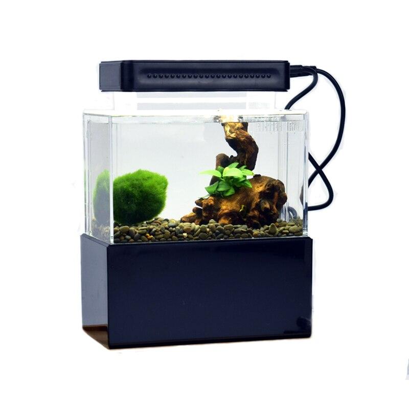 Mini réservoir de poisson en plastique Portable Aquarium de bureau bol de poisson Betta avec Filtration de l'eau LED et pompe à Air calme pour la décoration