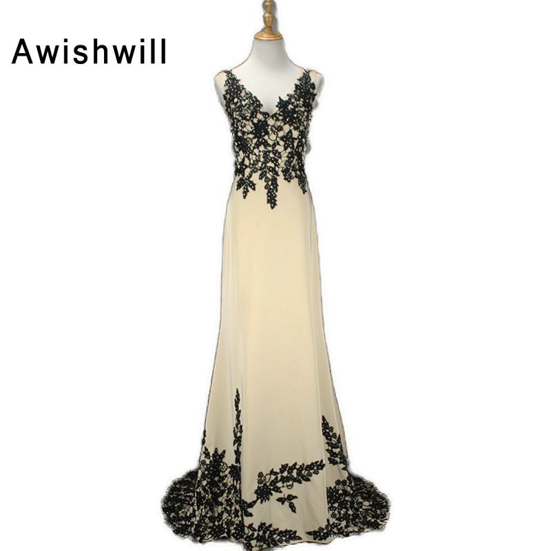 Formal Evening Dresses Champagne Color 2018 Elegant V neck Lace Chiffon Maxi Woman Evening Gowns Party Robe de Soiree 2018