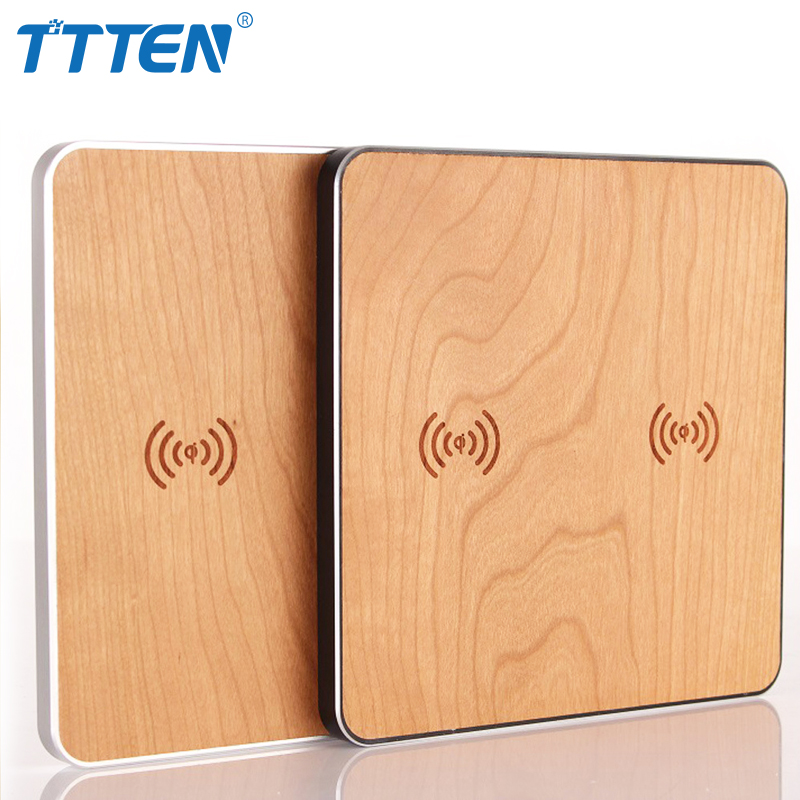 TTTEN Wooden Aluminum Alloy Wireless Charger for Iphone8 X Plus Qi Dual Phone charge Pad for Samsung Galaxy S7 S8 Note 8 qi wireless charger pad transmitter with receiver set for samsung galaxy s5 black