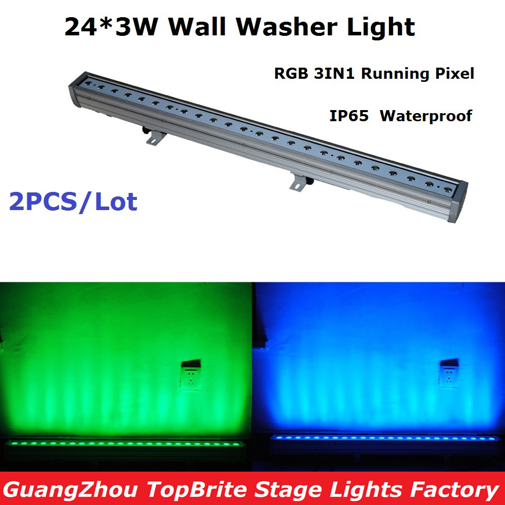 2xLot High Quality 2017 IP65 Waterproof Wall Wash Light 24*3W RGB 3IN1 LED Bar Wall Washer Lights With Running Horse Effect