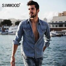 Simwood осень 2017 г. новые джинсовые Рубашки домашние муж. Для мужчин Винтаж 100% натуральный хлопок высокое качество брендовая одежда CS1582