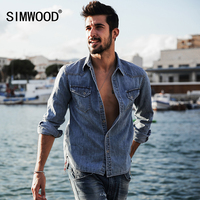 SIMWOOD 2017 Spring Summer New Denim Casual Shirts Men Vintage 100 Pure Cotton High Quality Brand