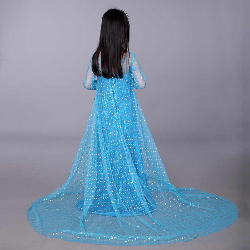 ... Pink Blue Elsa and Anna Dress Royal Birthday Shimmer and Shine for Girls  Princess Kids Evening 819f8bd13360