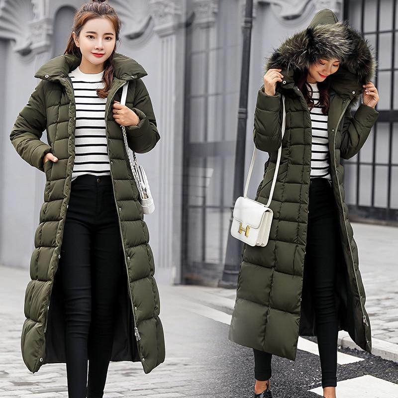 Image 3 - Fashion Winter Jacket Women Big Fur Belt Hooded Thick Down Parkas X Long Female Jacket Coat Slim Warm Winter Outwear 2019 New-in Parkas from Women's Clothing