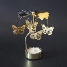 Подсвечники вращающийся Романтический вращающийся Вращающийся карусель чайный светильник подсвечник Рождественская елка олень светильник ing бабочка угол