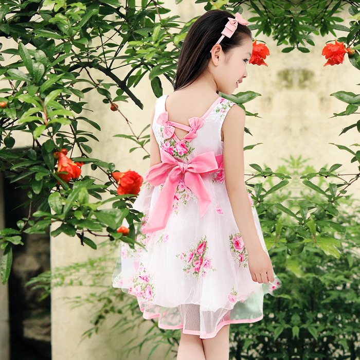 ФОТО girl dress cotton floral new summer style 2016 fashion princess lace up dress kids clothes children party bow dresses for girls