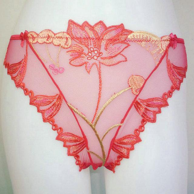 Ultrathin Cherry embroidery lace bra briefs set