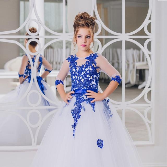db030cfe5 Tesoro Azul de Encaje Vestidos de Niña de Cuello Alto de Manga Larga Blanco  Comunión Vestido