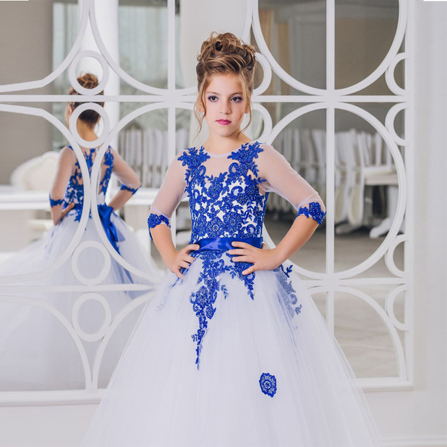 7cef8280fef Treasure Blue Lace Flower Girl Dresses High-Necked Long-Sleeved White  Communion Dress Beauty Ball Gowns Tea Length Party Dress