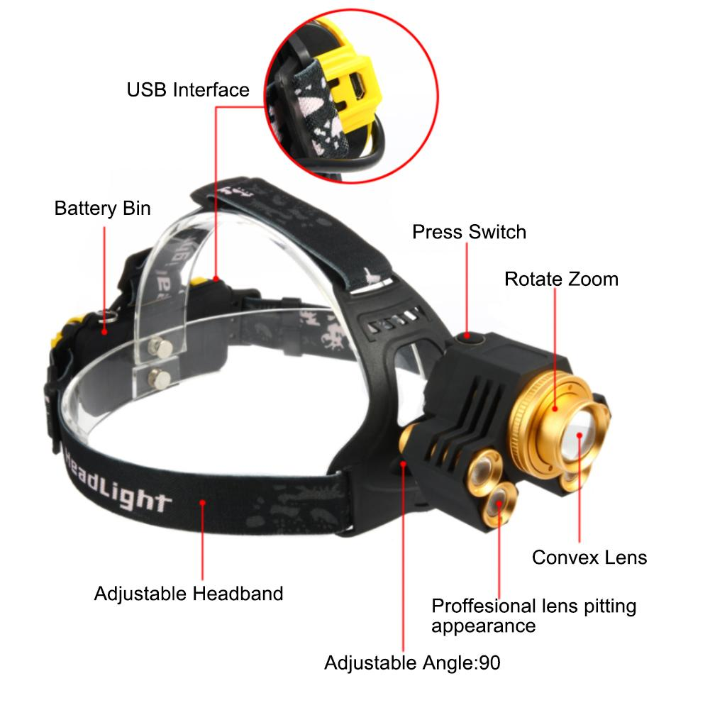 LED Headlamp 15000LM 5X Torch T6 LED Rechargeable 2X18650 USB Headlamp Head Light Zoomable + USB Cable GoldSilver 4 Sytles