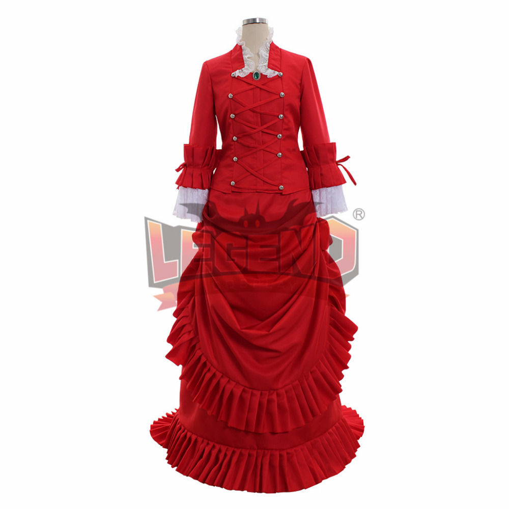 Black Bulter Angelina Dalles Madame Red dress Cosplay Costume Outfit Custom Made