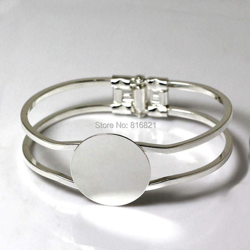 New Silver Plated Brass Blank Cuff Bangle Base with Flat Circle Glue Pad Bezel Spring Open