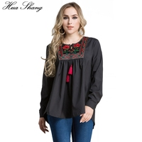 Elegant Embroidery Blouse Shirt Women Spring Autumn O Neck Long Sleeve Casual Blouse Loose Large Size