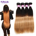 8A peruana ombre pelo 4 bundle peruana ombre cabello humano baratos paquetes de la armadura del pelo recto virginal peruano del pelo belleza plus