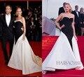 Blake Lively 2015 Red Carpet Celebrity Dresses Black And White Satin Sweetheart Long Formal  Women Dresses Party Gowns BG50546