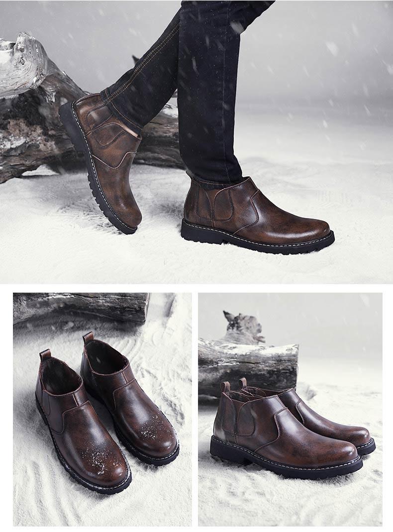 Heißer Verkauf Grund Stiefel Männer Lace Up Marke Ankle Winter Echtem Leder Bota Masculina Botas Hombre Casual Gummi Sicherheit Schuhe Herren 100% Original Herrenschuhe