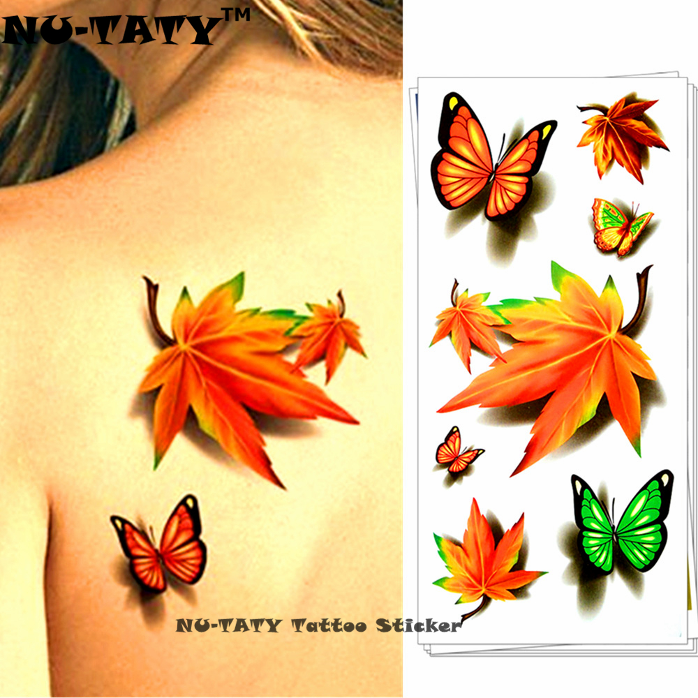 Nu TATY Maple Leaf Clover 3D Temporary Tattoo Body Art Flash Tattoo ...